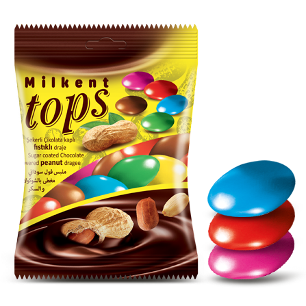 Tops Sugar Coated Chocolate Covered Peanut Dragee